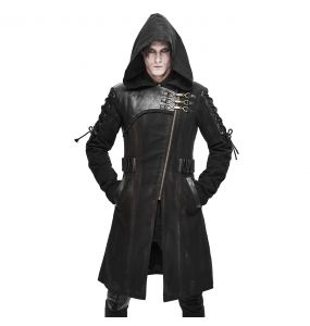 Black 'Creed' Hooded Long Jacket