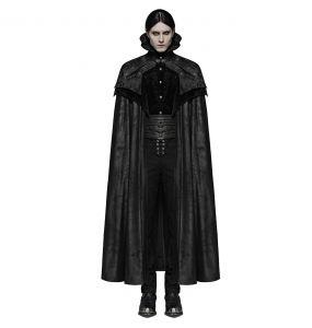 Black Long Victorian Gothic 'Illuminati' Cloak Coat