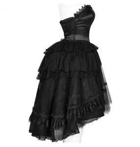 Black Assymetric 'Gothic Butterfly' Gothic Lolita Lace Dress