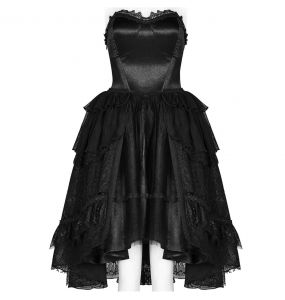 Robe Gothic Lolita 'Gothic Butterfly' en Mousseline de Soie et Dentelle Noires