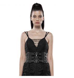 Black 'Techno Geisha' Females Corset Belt