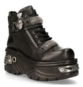 Black Itali Leather New Rock Turbo Platform Ankle Boots with Skull Zip