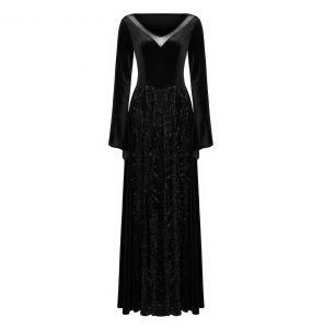 Longue Robe 'Cyrielle' en Velours Noir