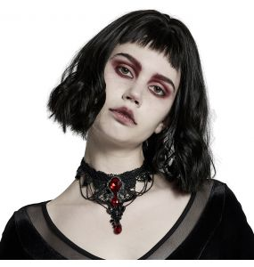 Black and Red 'Cyrielle' Goth Gem Necklace