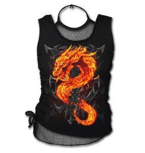 Black 'Fire Dragon' Sleeveless Top
