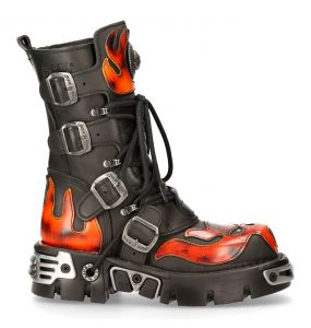 Black Itali Leather New Rock Metallic Boots with Fire Pulik Flames