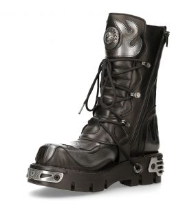 Black Itali Leather New Rock Metallic Boots with Grey Pulik Leather Flames