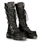 Black Leather New Rock Metallic Metal Toe High Boots