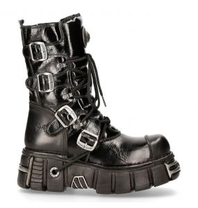 Black Itali and Patent Leather New Rock Metallic Boots