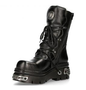 Black Leather Reactor New Rock Metallic Boots