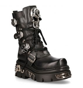 Black Itali and Nomada Leather New Rock Metallic Boots with Skulls