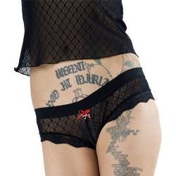 Culotte en Dentelle Noire avec Petit Noeud Rouge et Os Croisés