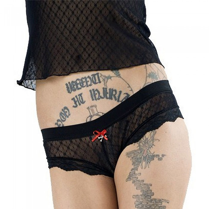 Black Lace Panties with Red Knot and Crossbones