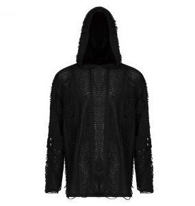 Black 'Zephyr' Goth Loose Knit Hoodie
