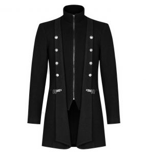 Black Long 'Lothaire' Gothic Jacket