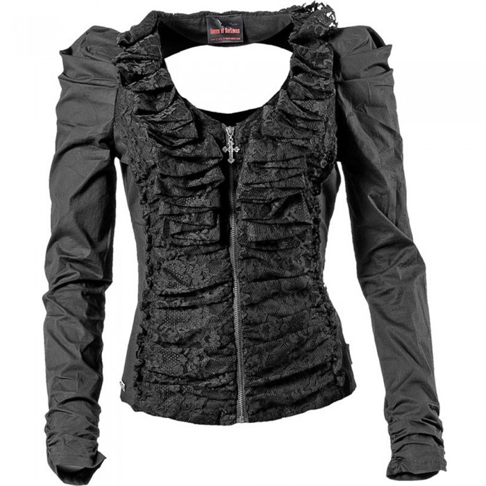 Black Cardigan with Lace and Ruching