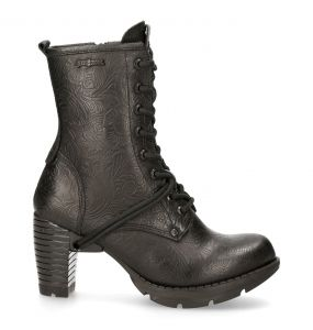 Black Vintage Flower Leather New Rock Trail Ankle Boots