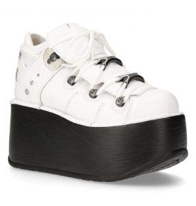 White Leather New Rock Marte Platform Shoes