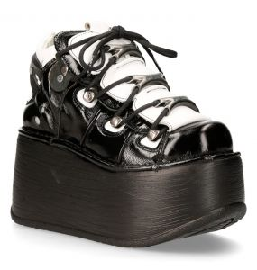 Black and White Leather New Rock Marte Platform Shoes