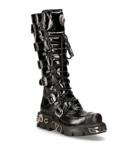 Black Patent Leather New Rock Metallic High Boots