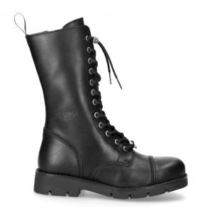 Black Leather New Rock Comfort Light Boots