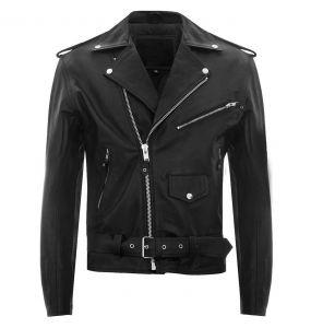 Black Leather 'Buffalo Brando' Males Jacket