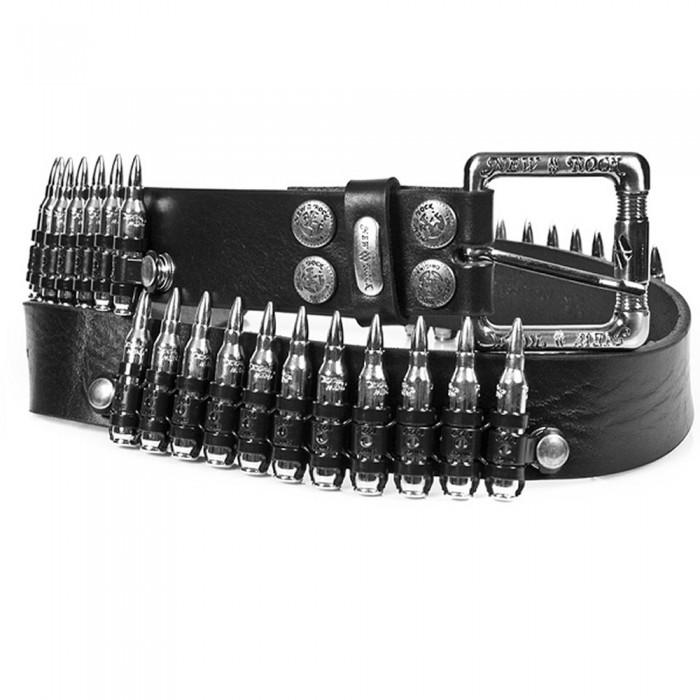 Black Leather 'Bullets' Belt