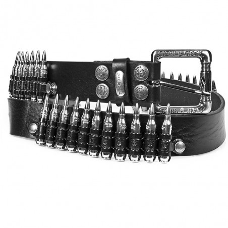Black Leather 'Bullets' Belt