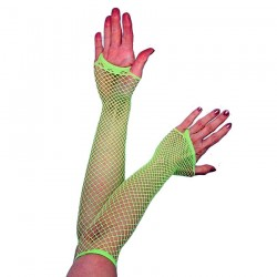 Green Fishnet Long Gloves
