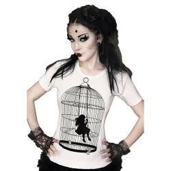 T-Shirt 'Girl in the Cage' Blanc