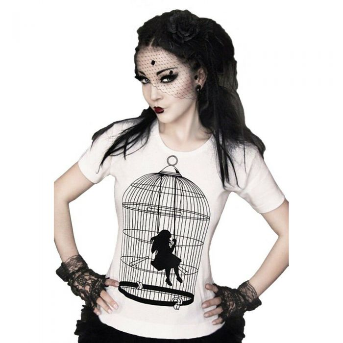 White 'Girl in the Cage' T-Shirt