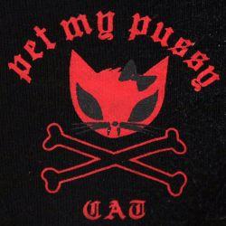 Slip Noir 'Pet My Pussy' à Pois avec Petits Noeuds Rouges