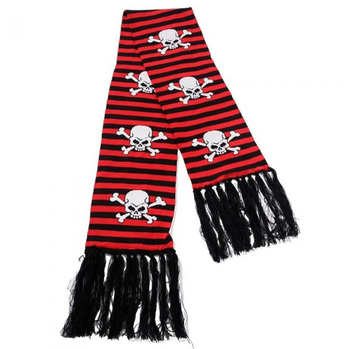 Scarf 'Red Stripes Skull and Bones'
