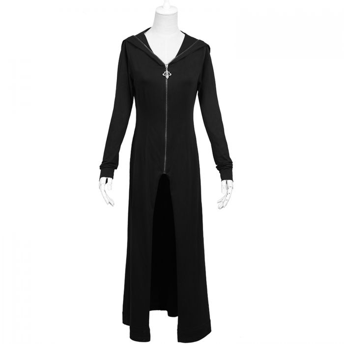 Black Long Witch Summer Coat with Hooded 'Tristana'