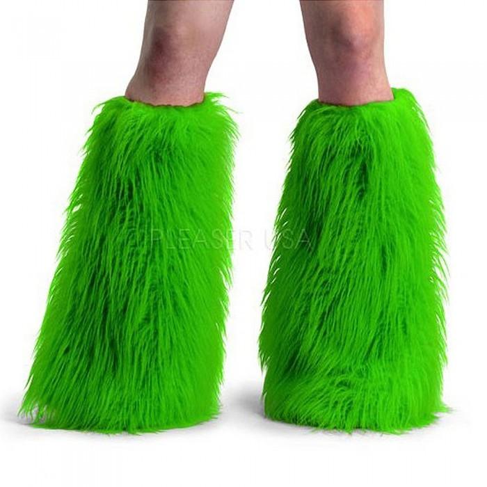 Green Fur Cyber Goth Leg Warmers