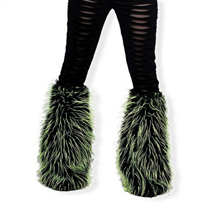 Green and Black Fake Fur Cyber Goth Leg Warmers