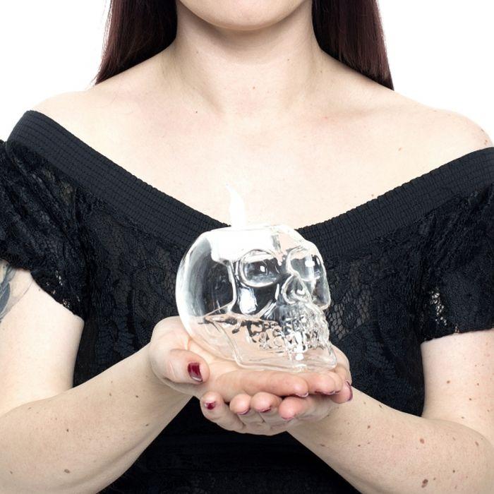Bougeoir transparent Skull