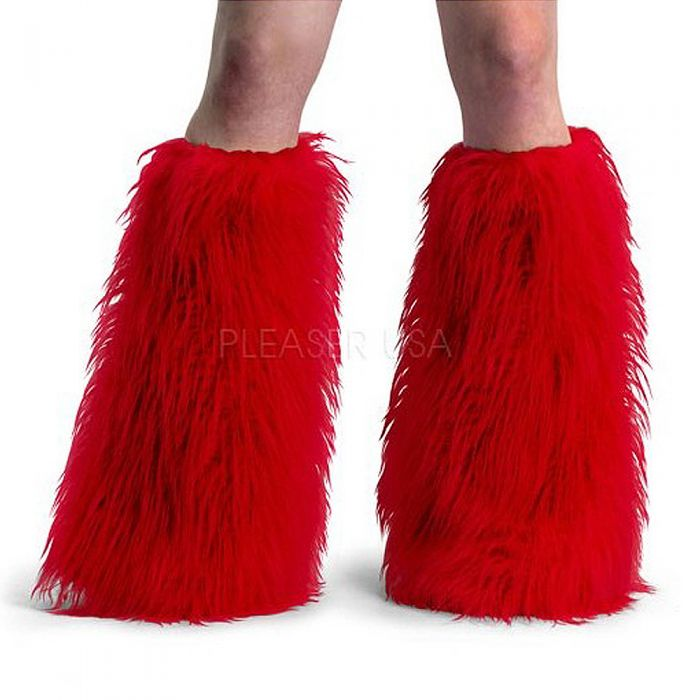 Red Fur Cyber Goth Leg Warmers