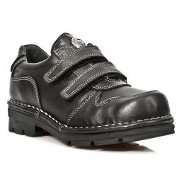 Chaussures Enfants New Rock Kid en Cuir Itali Noir