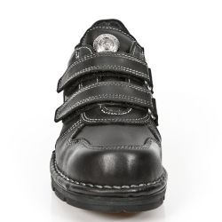 Black Itali Leather New Rock Kid Shoes