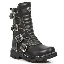 Black Itali Leather New Rock Kid Boots