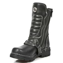 Black Itali Leather New Rock Kid Boots