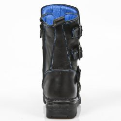 Black Itali Leather New Rock Kid Boots with Blue Seams
