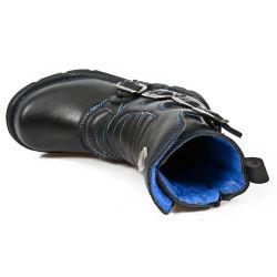 Bottes Enfants New Rock Kid en Cuir Itali Noir avec Coutures Bleues