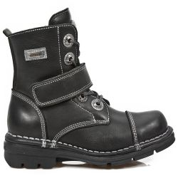 Black Itali Leather New Rock Kid Ankle Boots