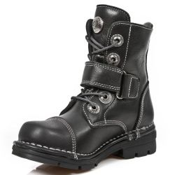 Bottines Enfants New Rock Kid en Cuir Itali Noir