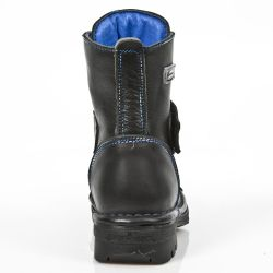 Black Itali Leather New Rock Kid Ankle Boots with Blue Seams