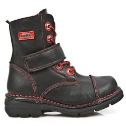 Bottines Enfants New Rock Kid en Cuir Itali Noir avec Coutures Rouges