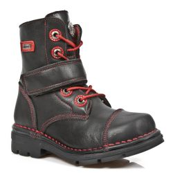 Black Itali Leather New Rock Kid Ankle Boots with Red Seams