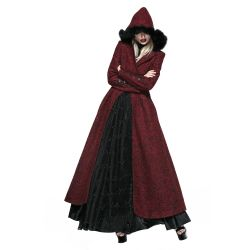 Manteau d'Hiver Rouge à Capuche 'The Queen of Hearts'